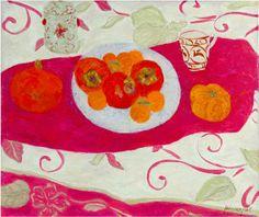 Pierre Boncompain. Kakis et mandarines, huile sur toile.