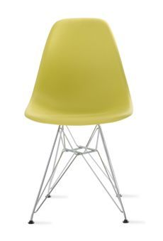 Charles and Ray Eames Molded Plastic chairs were originally designed in metal, and entered as a prototype in MoMA's 1948 International Competition for Low-Cost Furniture Design. They then changed the material to fiberglass in 1950, and today the chairs are made of recyclable polypropylene.