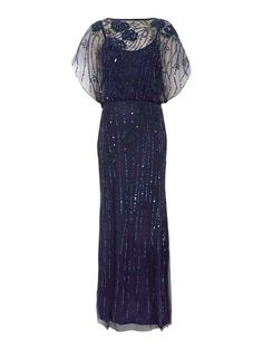 JS Collections All over beaded gown with bat wing sleeves $175.00 AT vintagedancer.com