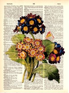 "Dictionary Art Print,Digital Illustration,vintage,Flowers,Gifts ideas,Home & living,Graphic design,Poster,Wall decor,Home decor ""Joy"""