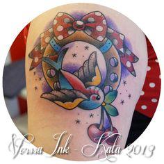 http://tattoosbykata.blogspot.fi, https://www.facebook.com/VorssaInk, #tattoo #tatuointi #kata puupponen #vorssa ink #forssa #finland #pin up #swallo #sparrow #traditional tattoo #cherry #cherries