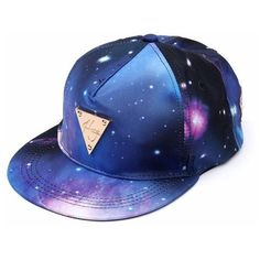 Women Floral Flower Snapback Hip-Hop Hat Flat Galaxy Adjustable... ($8.14) ❤ liked on Polyvore featuring accessories, hats, blue, baseball hats, summer hats, cap hats, floral baseball cap and flat cap
