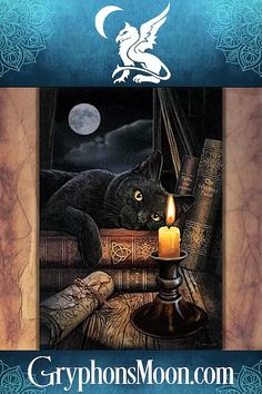 The Witching Hour Cross Stitch Pattern - Sprawled atop a pile of books, this black cat is captivated by the candle's flickering flame. Based on artwork by Lisa Parker. This piece measures 400 stitches wide by 574 stitches high. This is a massive project that will provide you with many hours of enjoyment. This is a pattern for counted cross stitch. It is not a complete kit. You will need to supply your own fabric and floss. #CrossStitch #CountedCrossStitch #CountedCrossStitch #XStitch… Lisa Parker, Pile Of Books, Samhain Halloween, Earth Design, Counted Cross Stitch Patterns, Crossstitch, Colorful Pictures, Getting Things Done, A Table