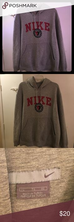 Women's Nike Grey Hooded Sweatshirt Walk the Walk The silk screen has a worn look but it came that way. This has some Wear, but tons of life left. One HTS light mark on pocket ( have not tried to get it out yet ) super cozy- see pics apart of the description. Nike Tops Sweatshirts & Hoodies