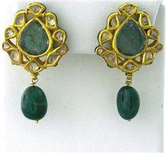 Gold Enamel Emerald Rose Cut Diamond Earrings