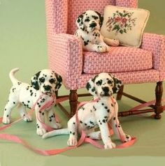 Dalmatian puppies and chair are needle felted