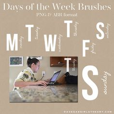 Free Photoshop Brushes: days of the week >> from A Vegas Girl at Heart #ProjectLife #Scrapbooking
