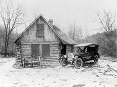 Two women in new Oldsmobile in front of log cabin, Rock Creek Park, Washington, D. picture made for Oldsmobile Sales Co in Vintage b&w photo. Old Cabins, Log Cabin Homes, Cabins And Cottages, Rustic Cabins, Country Cottages, Country Homes, Old Pictures, Old Photos, Pretty Pictures