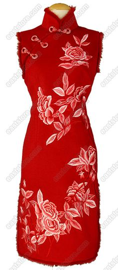 blooming peony embroidered cashmere cheongsam