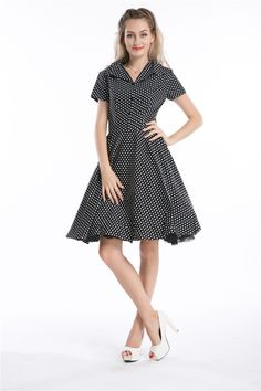 >> Click to Buy << free shipping 1092 BLACK Polka dot Swing 50's Housewife pinup Dress Vintage Rockabilly #Affiliate