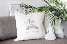 Throw pillow with love declaration hand printed by My Home and Yours. Unique gift for wedding or as wedding decor. Can be customized with names of the couple and the wedding date. Wedding Theme Inspiration, Wedding Themes, Wedding Decorations, Wedding Anniversary Gifts, Wedding Gifts, Ways To Propose, The Wedding Date, Wedding Preparation, Couple Gifts