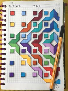 Graph Paper Drawings, Graph Paper Art, Easy Drawings, Blackwork Patterns, Cross Stitch Patterns, Quilt Patterns, Geometric Drawing, Geometric Art, Abstract Coloring Pages