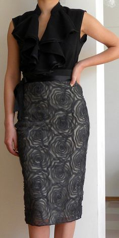 lace skirt embossed with floral pattern