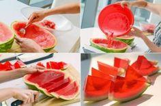 Sandia con gelatina, encuentra más deliciosas opciones en snacks para la escuela aquí...http://www.1001consejos.com/snacks-para-la-escuela/