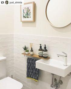 Kleine badezimmer design towel holder ideas for WC - # ideas - Vacuum Small Sink, Small Toilet Room, Wc Ideas, Small Toilet, Small Downstairs Toilet, Small Bathroom, Reece Bathroom, Bathroom Design, Bathroom Decor