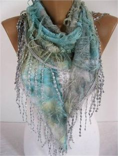 Elegant Blue Multicolor Scarf  Cowl with Lace Edge by MebaDesign by melissagarsia