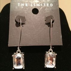 """Emerald Cut Rhinestone Wire Earrings-Never Worn """"The Limited"""" 4 Carat (each) crystal clear 2 1/2"""" drop French wire hook earrings. Absolutely stunning with a little black dress or dressed down with jeans, white shirt and black blazer!! The Limited Jewelry Earrings"""