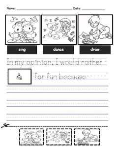 Opinion writing in kindergarten! Would you rather sing, dance, or draw for fun? Why? K.W.1 Free printable!