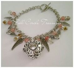 """Harmony heart chime bracelet, Sterling silver, Metaphysical, OOAK, Quartz, 8"""" Sterling heart chime with cherry quartz & heart/wing charms"""