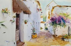 Beautiful Watercolor Paintings by Blanca Alvarez from Malaga, Spain. Watercolor Images, Watercolor Drawing, Watercolor Landscape, Watercolour Painting, Landscape Paintings, Watercolor Ideas, Watercolor Journal, Learn To Paint, Beach Art