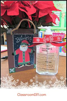 Classroom DIY: Personalized Hand Sanitizer  http://www.classroomdiy.com/2012/12/personalized-hand-sanitizer.html