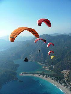 Paraglide Mount Baba Dag in Turkey. Oludeniz region of Turkey celebrates flying every October with it's annual Air Games week