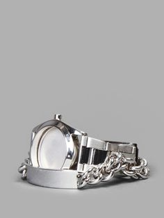 MAISON MARTIN MARGIELA SILVER FACELESS WATCH WITH IDENTITY CHAIN BRACELET