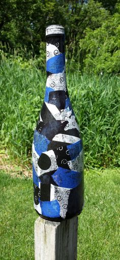 Decoupaged Wine Bottle by HappinessHandcrafted on Etsy, $15.00