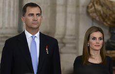 Los Príncipes de Asturias, en el acto de abdicación celebrado en el Palacio Real.
