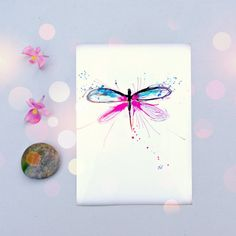 Dragonfly Art Print Pink & Blue Wall Art for by PeaceofViolet