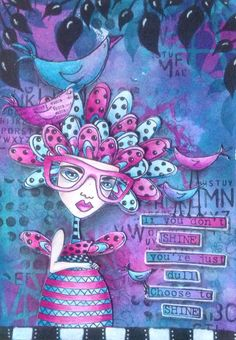 Art journalpage using Dylusions ink, stamps and stencils