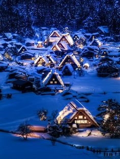 Winter night in Gokayama, a Unesco World Heritage Site in Toyama Prefecture, Japan