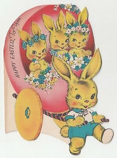 Mother's Day Greeting Cards, Vintage Greeting Cards, Vintage Christmas Cards, Birthday Greeting Cards, Easter Art, Easter Crafts, Easter Bunny, Grande Section, Easter Wishes