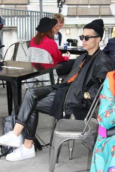 """GUY GOES GRUNGE"" #leather #wetlook #black #sunglasses #beanie #downtown #streetstyle"