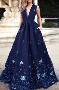 prom dress,Plunging Neck Embroidered Organza Over Satin Dress prom gowns,navy blue prom dresses by DestinyDress, $177.39 USD