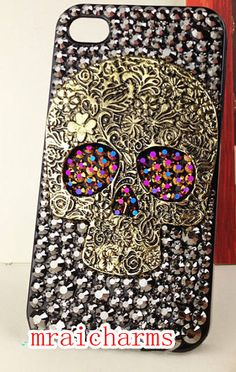 Punk Skull Bling Case for iphone 4/4s/5/5s/5c,Apple ipod 4/5,Samsung Galaxy S3/S4/S4 Active,Samsung Note 1/2/3,Htc One,Blackberry Q10 Z10