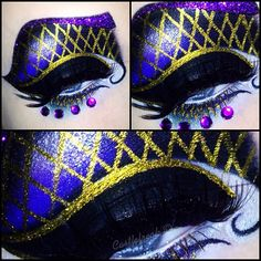 "Creative purple and gold fantasy eye art with purple crystal accents by MUA Sandra ""Castlefreak""."