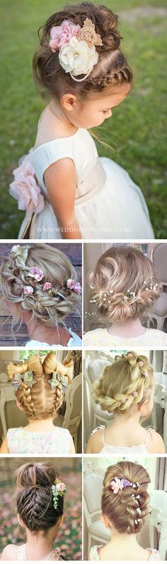 30 Cute Flower Girl Hairstyles ❤️ Here you find some simple flower girl hairstyles and more complex which was made by a professionals. See more: http://www.weddingforward.com/flower-girl-hairstyles/ #wedding #flowergirlhairstyles