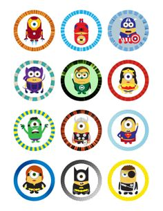 Minions Super Heroes Printables 2 Circle for by CuteChicDesigns, £2.00