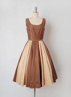 vintage 1950s dress / 1950s striped dress / 50s brown by cutxpaste