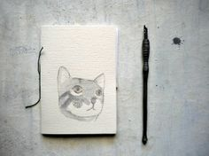 Cats from Team One.  cat notecard with cat in love linocut card for valentine by vumap