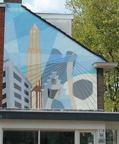 Muurschildering hoek Hooft Graaflandstraat/'t Goylaan.