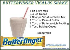 Butterfinger Shake Recipe. DANGEROUSLY delicious. I use chocolate whey protein (1 scoop). I use the sugar free pudding mix and PB2, which makes it the least calorie cheat item ever. I also use unsweetened almond milk. Absolutely love it.