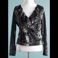 ANN KLEIN Black Ruffle Long Sleeve Top Size M P ANN KLEIN Black Ruffle Long Sleeve Top Size M Petite, new, worn once Anne Klein Tops