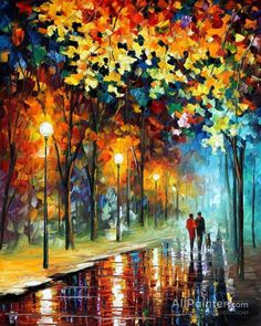 Leonid Afremov The Warmth Of Friends oil painting reproductions for sale