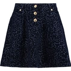 Love Moschino Leopard devoré-denim mini skirt ($135) ❤ liked on Polyvore featuring skirts, mini skirts, midnight blue, denim mini skirt, blue denim skirt, denim miniskirt, petite denim skirt and short denim skirts