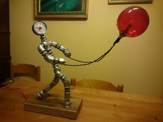 Handmade Industrial Pipe Lamp - Vintage Pipe Lamp - Steampunk Lamp - Iron Pipe Lamp - Table Lamp - Robot Pipe Lamp - Cyborg Pipe Lamp