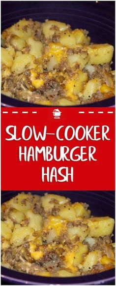Slow-Cooker Hamburger Hash Recipe – Home Family Recipes - Rezepte Bow Hamburger And Potatoes, Meat And Potatoes Recipes, Meat Recipes For Dinner, Slow Cooker Hamburger Recipes, Ground Beef Recipes, Slow Cooker Ground Beef, Slow Cooking, Cooking Recipes, Cooking Turkey