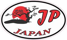 5inx3in Oval Japan Sticker Vinyl Travel Luggage Decal Car Bumper Stickers