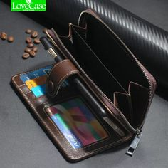 Cut Price $28.88, Buy For iphone 7 Case Real Genuine Leather Case Wallet Cover for Iphone 7/ 7 Plus Flip Cover Zipper Phone Bag Classic Business case